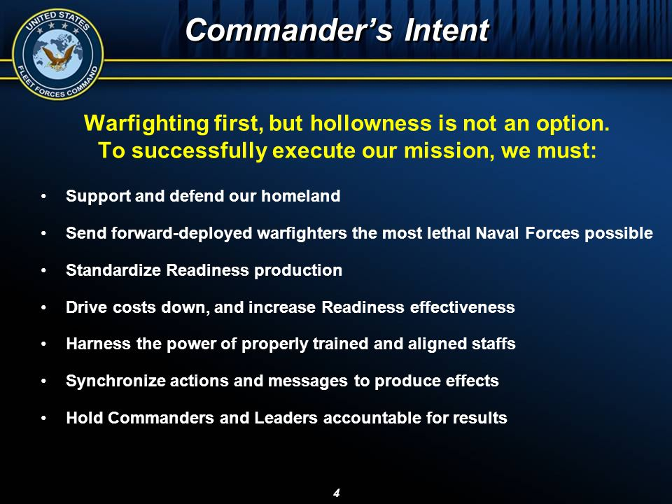Commander's Intent Warfighting first, but hollowness is not an option.