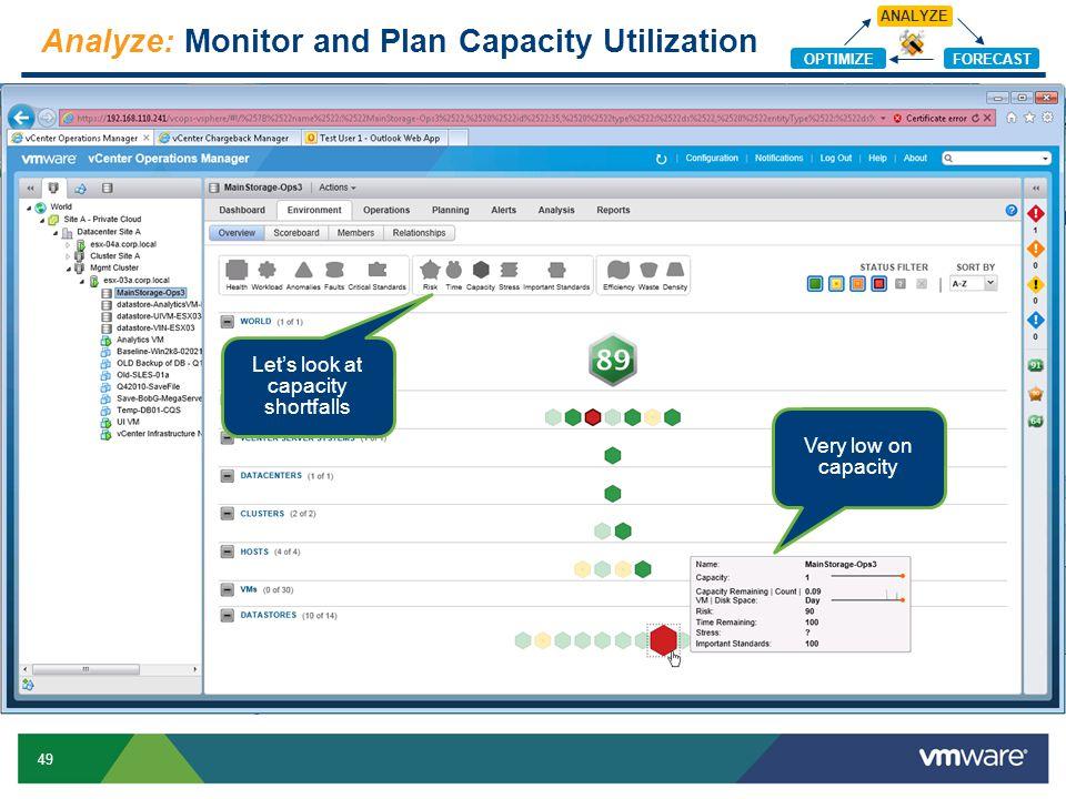 Analyze: Monitor and Plan Capacity Utilization