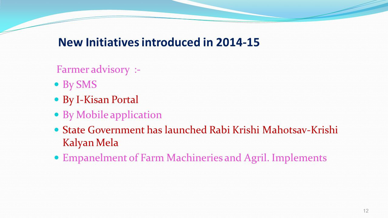 New Initiatives introduced in 2014-15