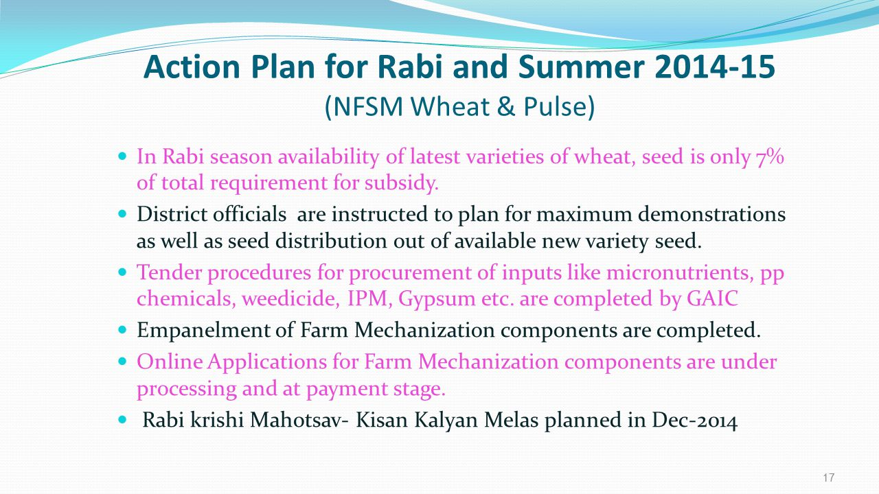Action Plan for Rabi and Summer 2014-15 (NFSM Wheat & Pulse)