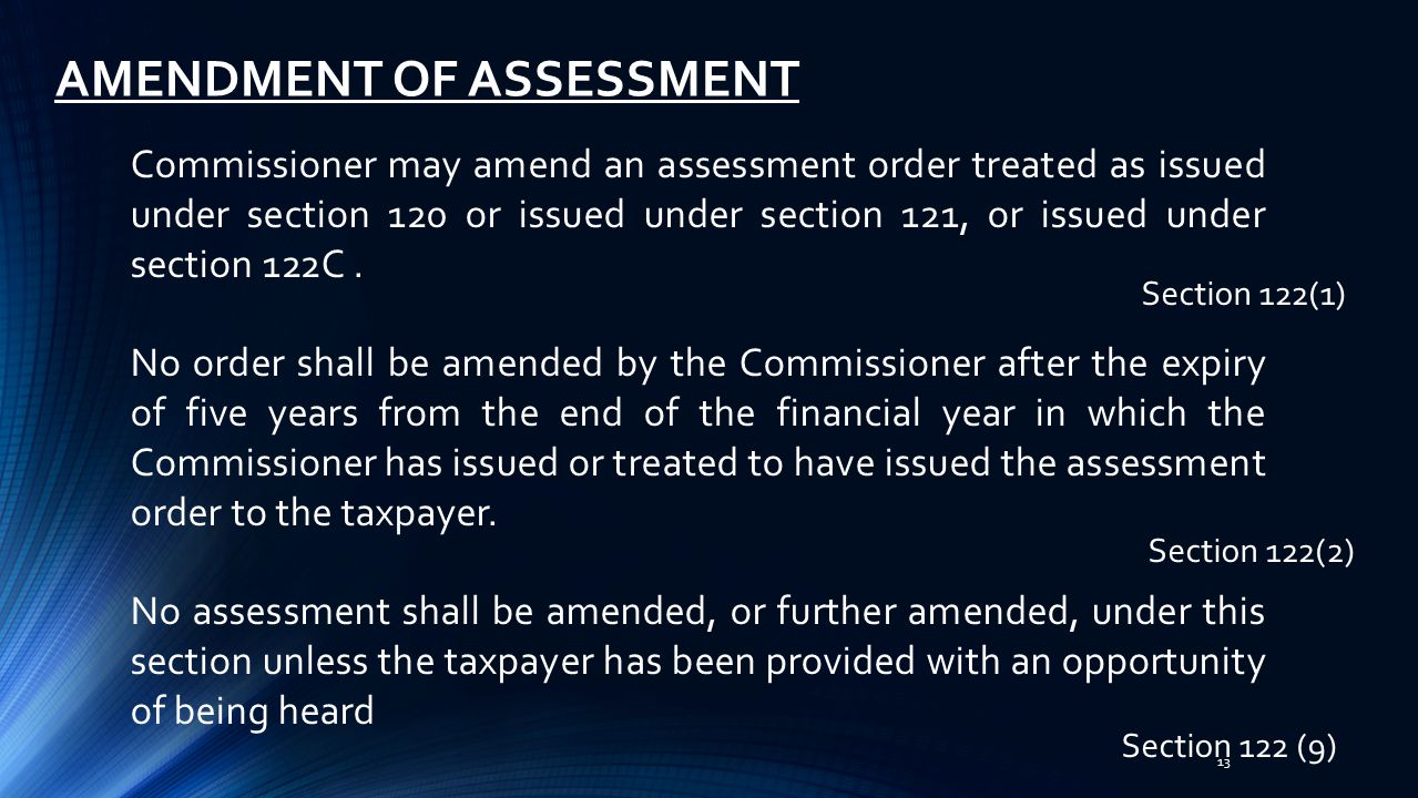 AMENDMENT OF ASSESSMENT