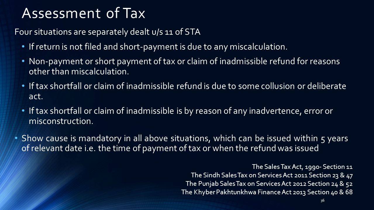 Assessment of Tax Four situations are separately dealt u/s 11 of STA