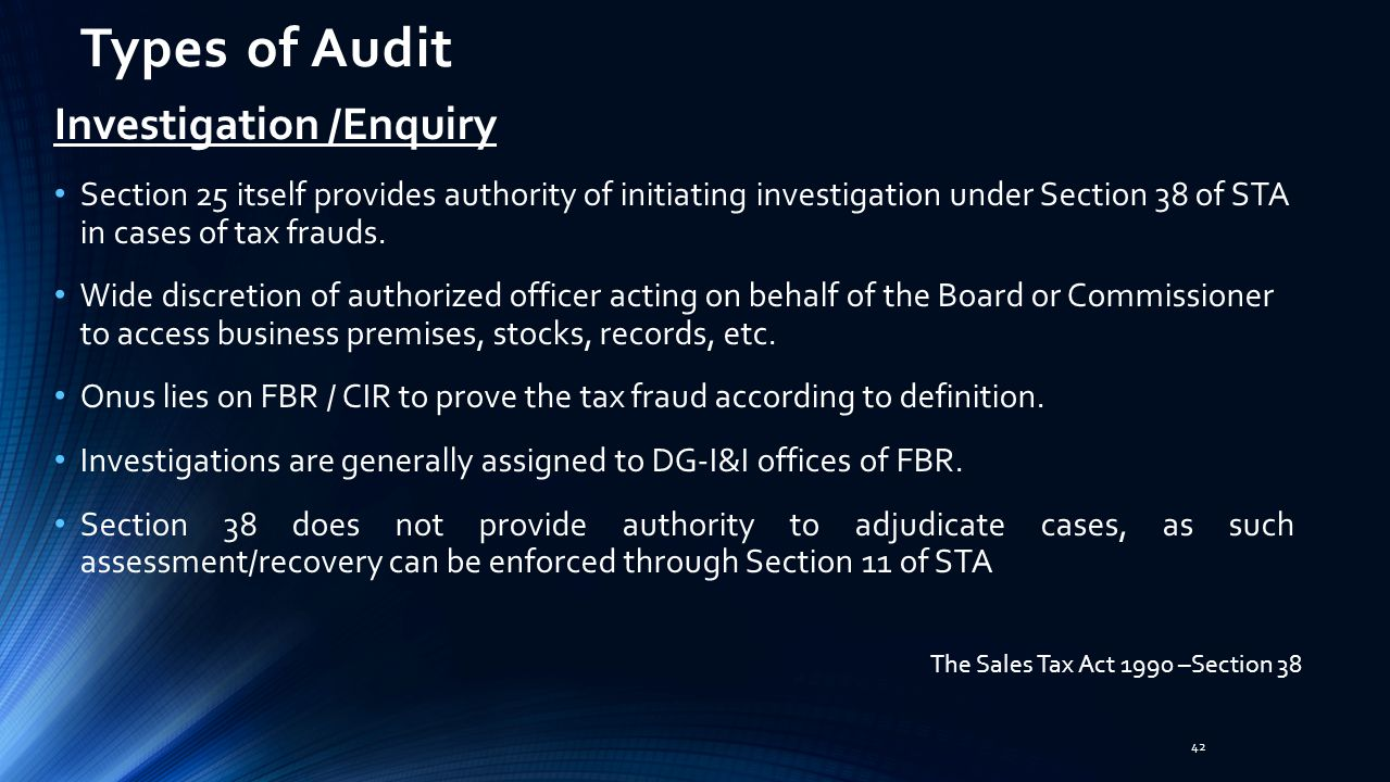 Types of Audit Investigation /Enquiry