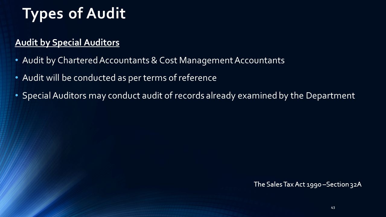 Types of Audit Audit by Special Auditors