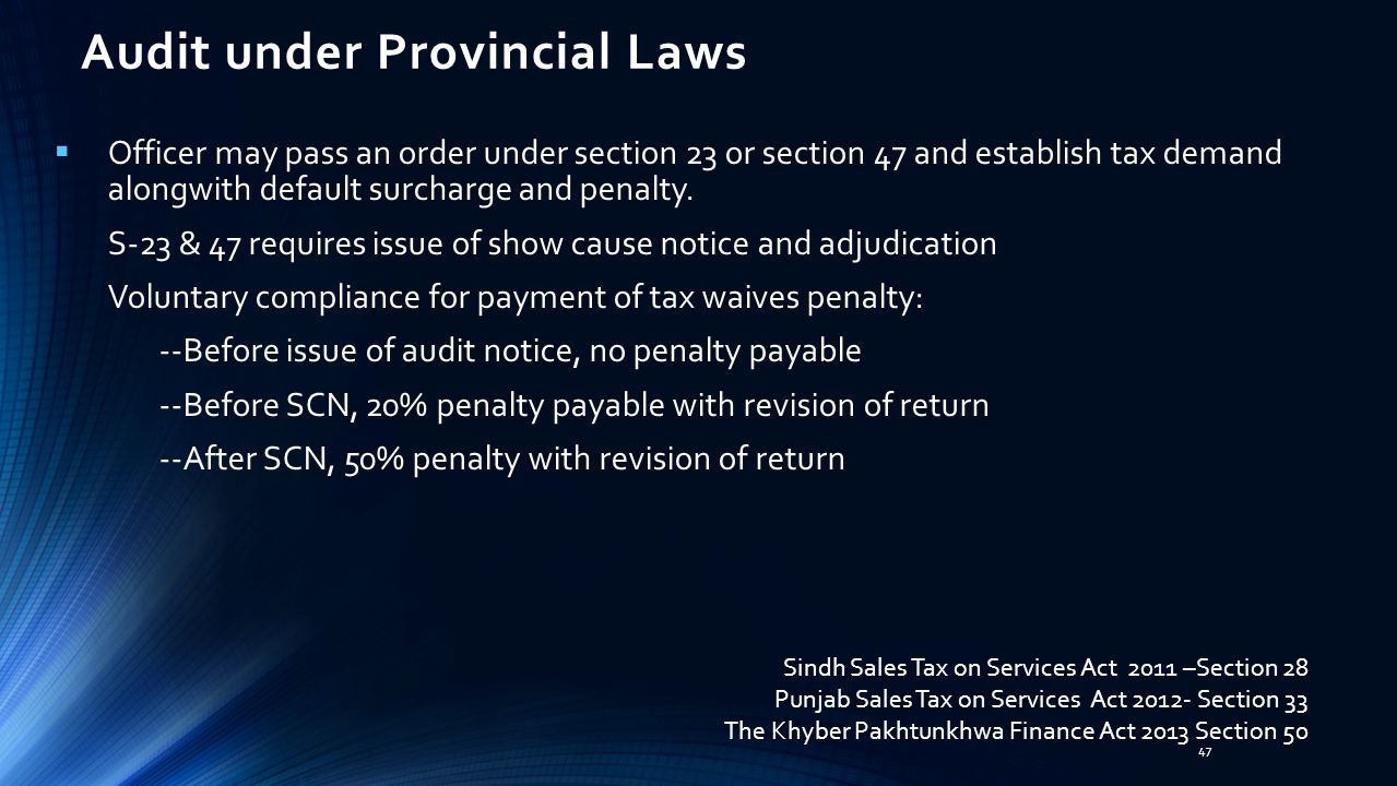Audit under Provincial Laws