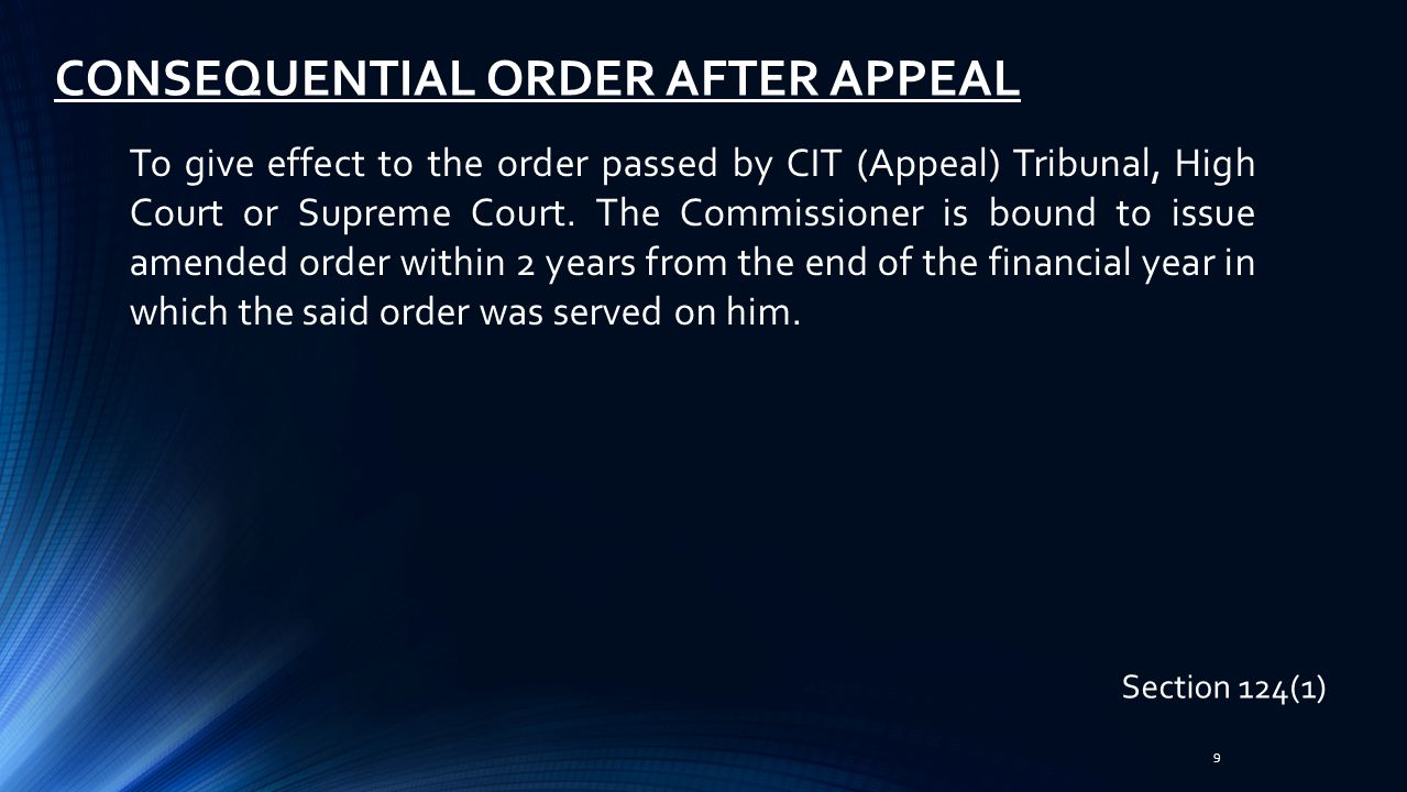CONSEQUENTIAL ORDER AFTER APPEAL