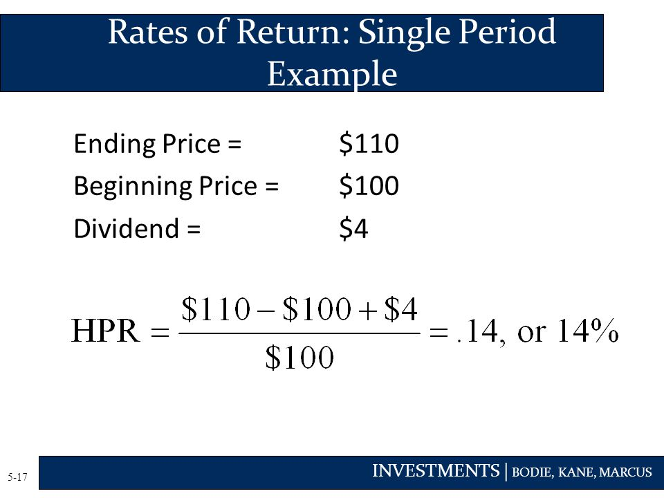 Rates of Return: Single Period Example