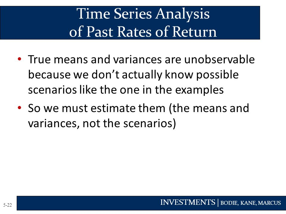 Time Series Analysis of Past Rates of Return