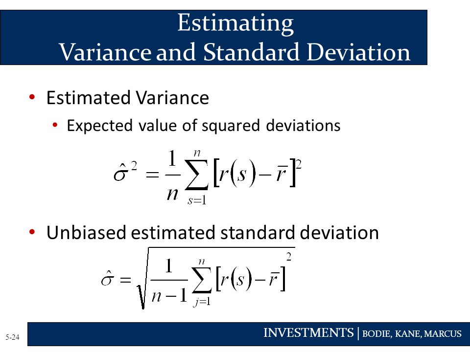 Estimating Variance and Standard Deviation