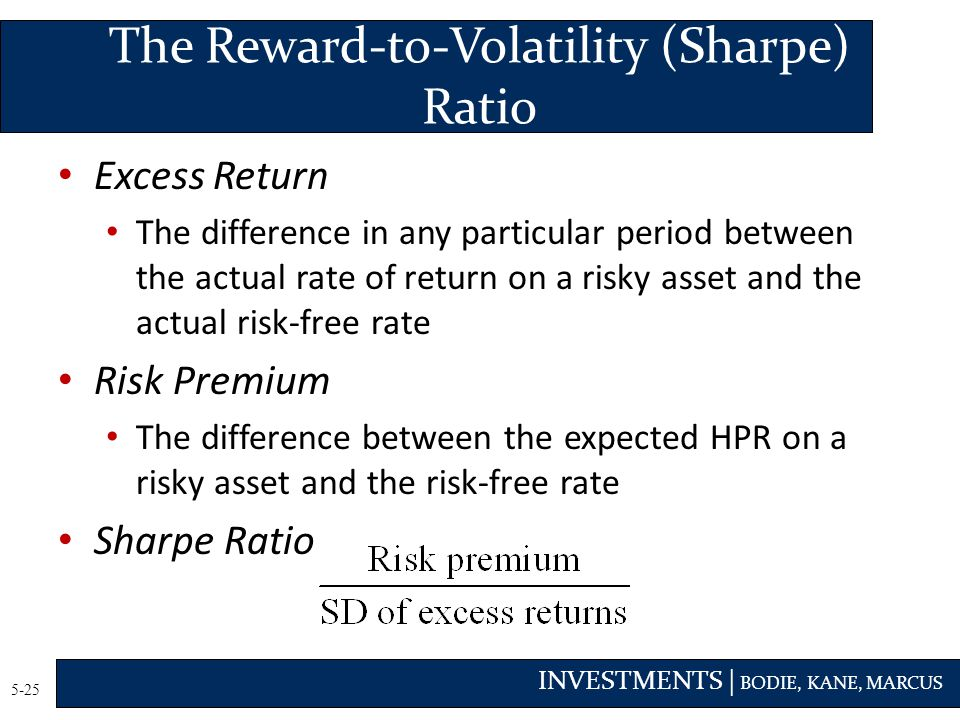 The Reward-to-Volatility (Sharpe) Ratio