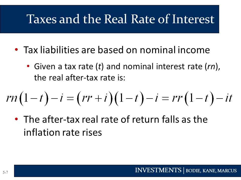 Taxes and the Real Rate of Interest