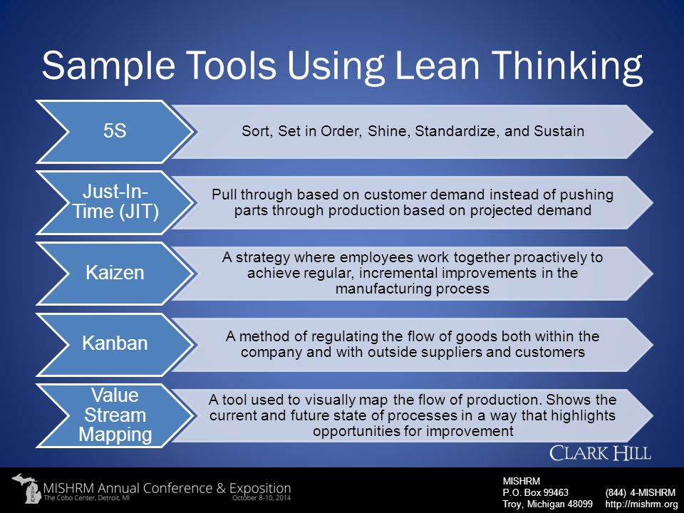Sample Tools Using Lean Thinking