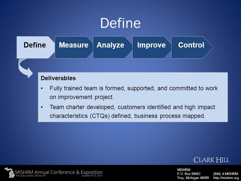 Define Define Measure Analyze Improve Control Deliverables