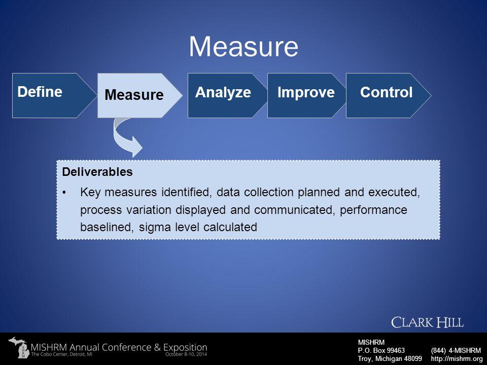 Measure Define Measure Analyze Improve Control Deliverables