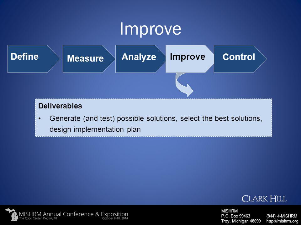 Improve Define Measure Analyze Improve Control Deliverables