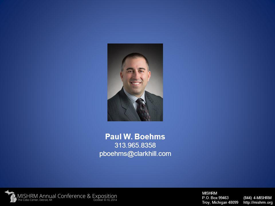 Paul W. Boehms 313.965.8358 pboehms@clarkhill.com