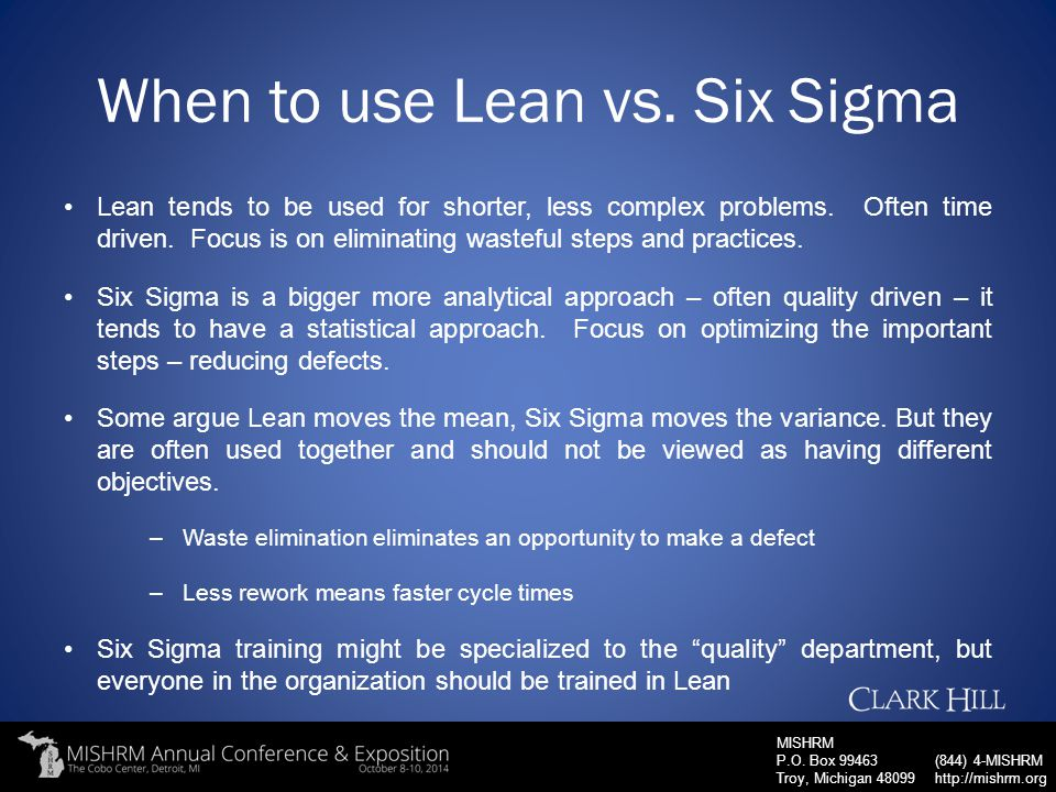 When to use Lean vs. Six Sigma