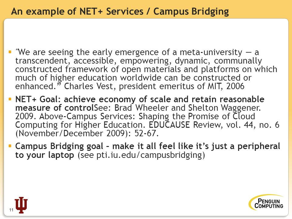 An example of NET+ Services / Campus Bridging