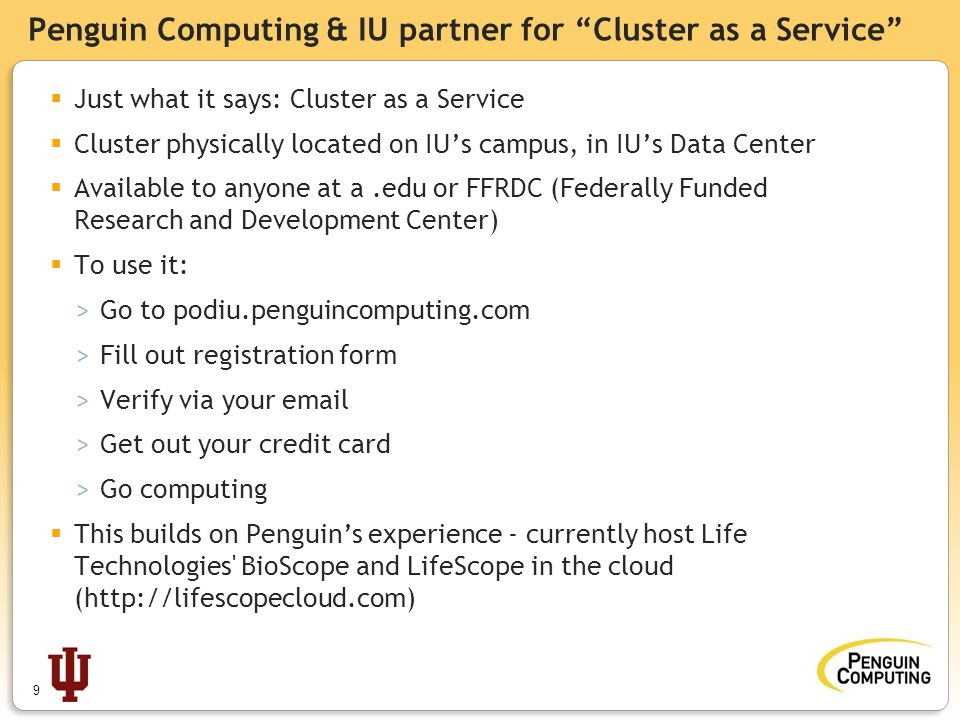 Penguin Computing & IU partner for Cluster as a Service