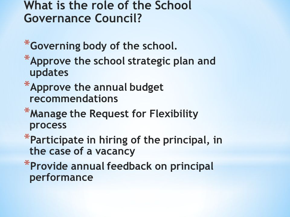 What is the role of the School Governance Council