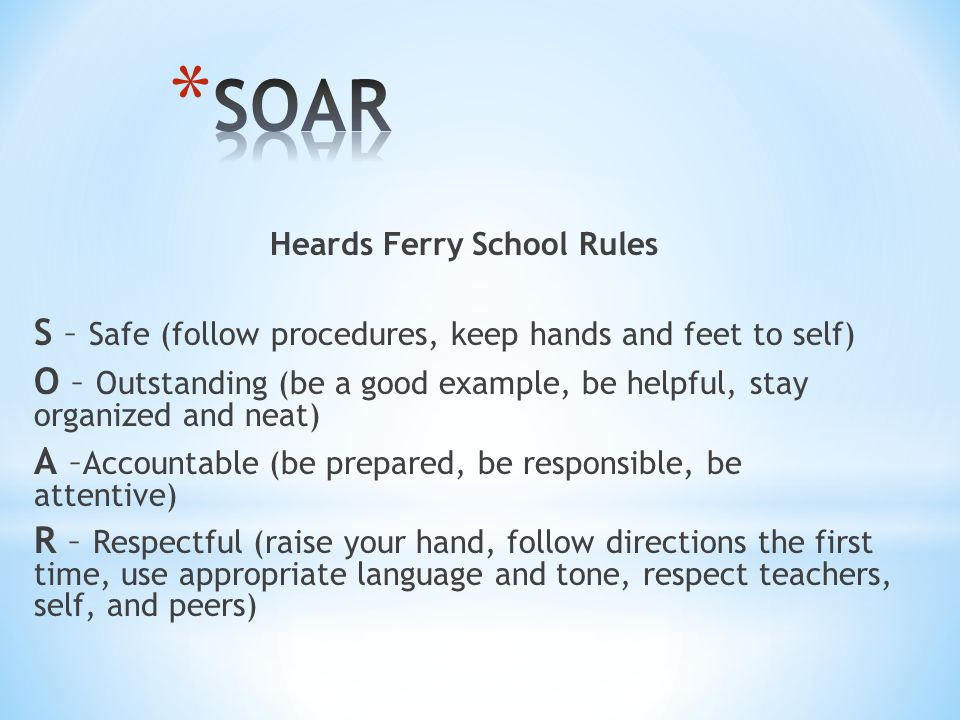 Heards Ferry School Rules