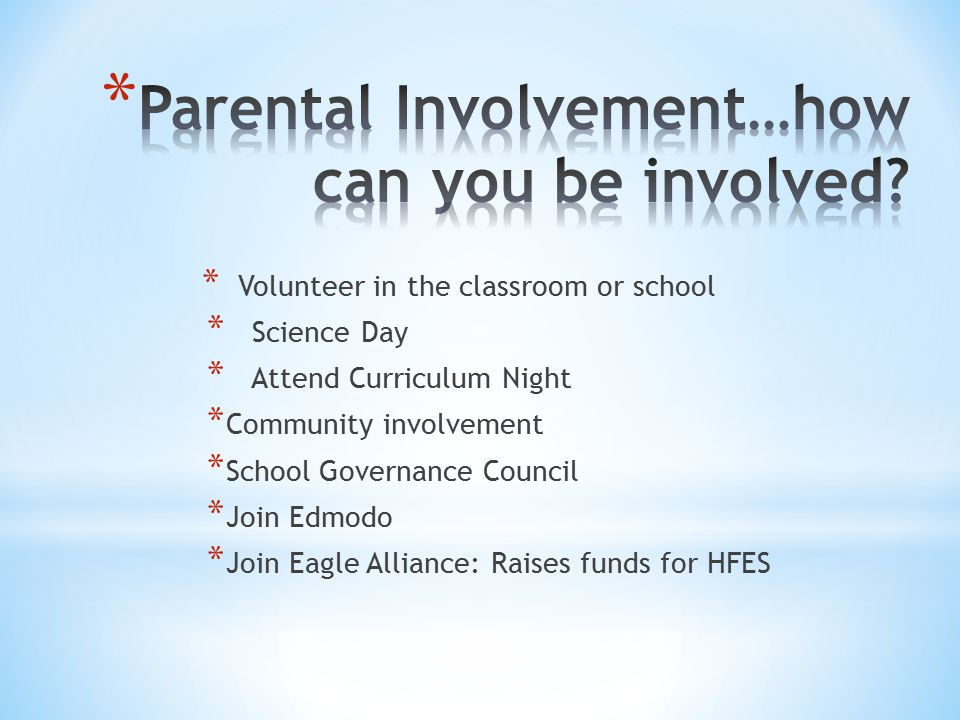 Parental Involvement…how can you be involved