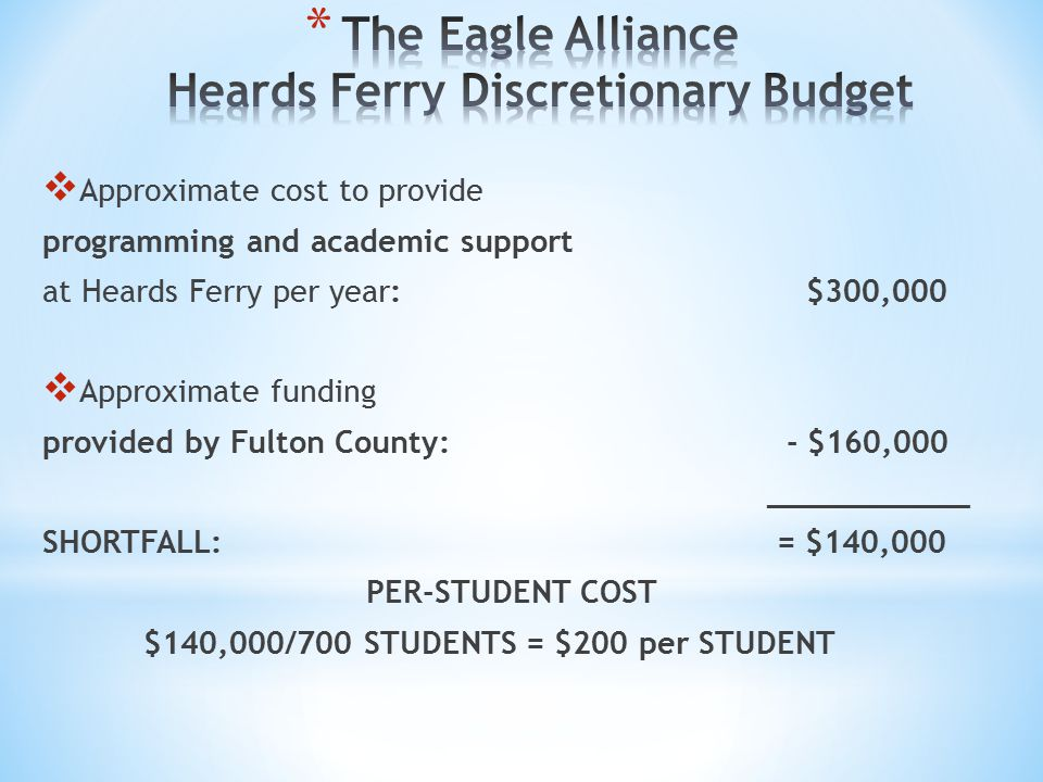 The Eagle Alliance Heards Ferry Discretionary Budget
