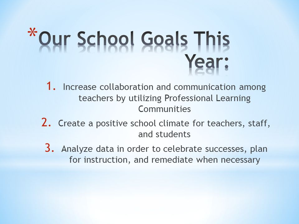 Our School Goals This Year: