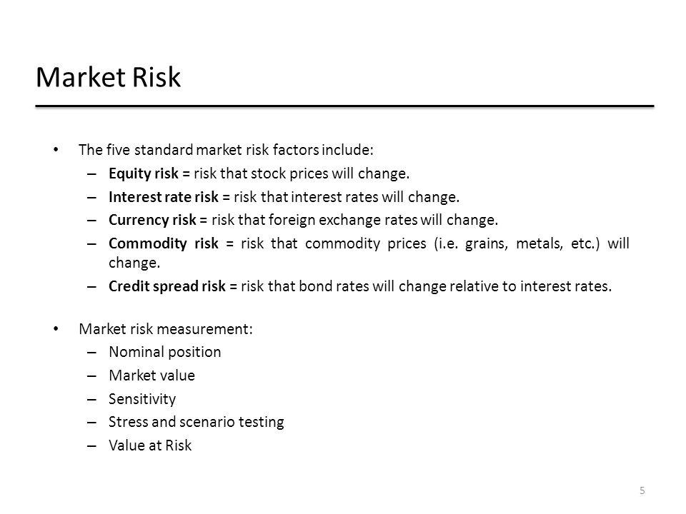 Market Risk The five standard market risk factors include: