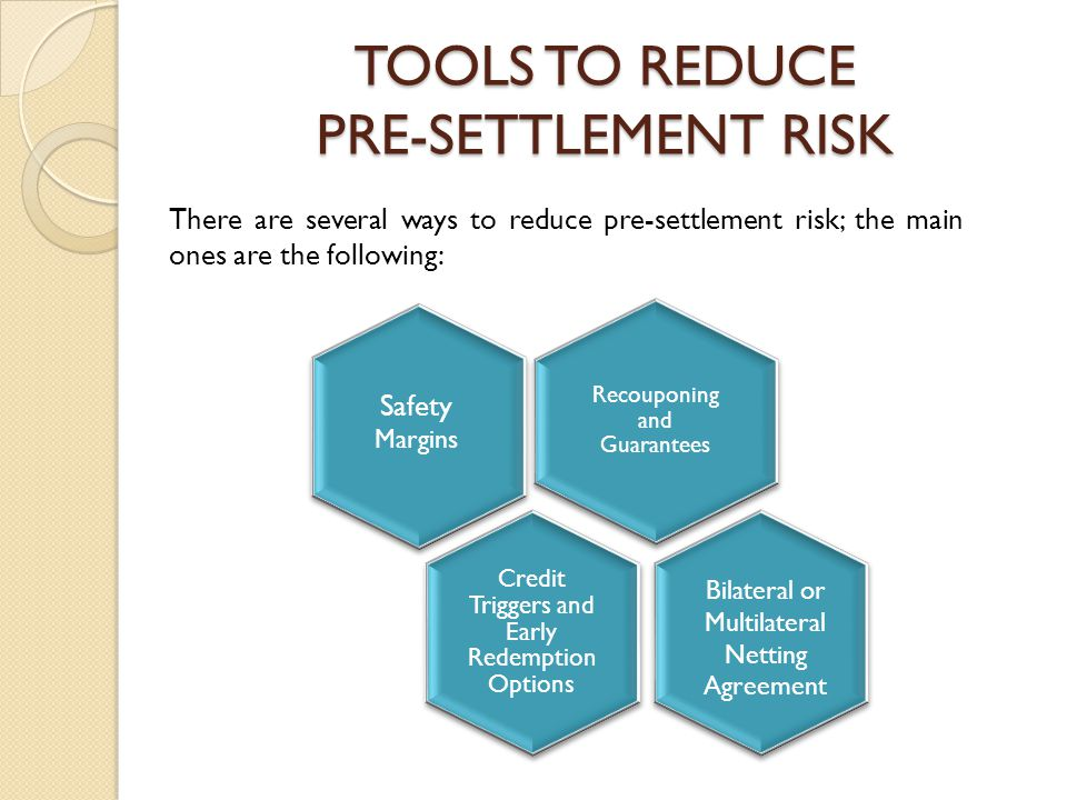 TOOLS TO REDUCE PRE-SETTLEMENT RISK