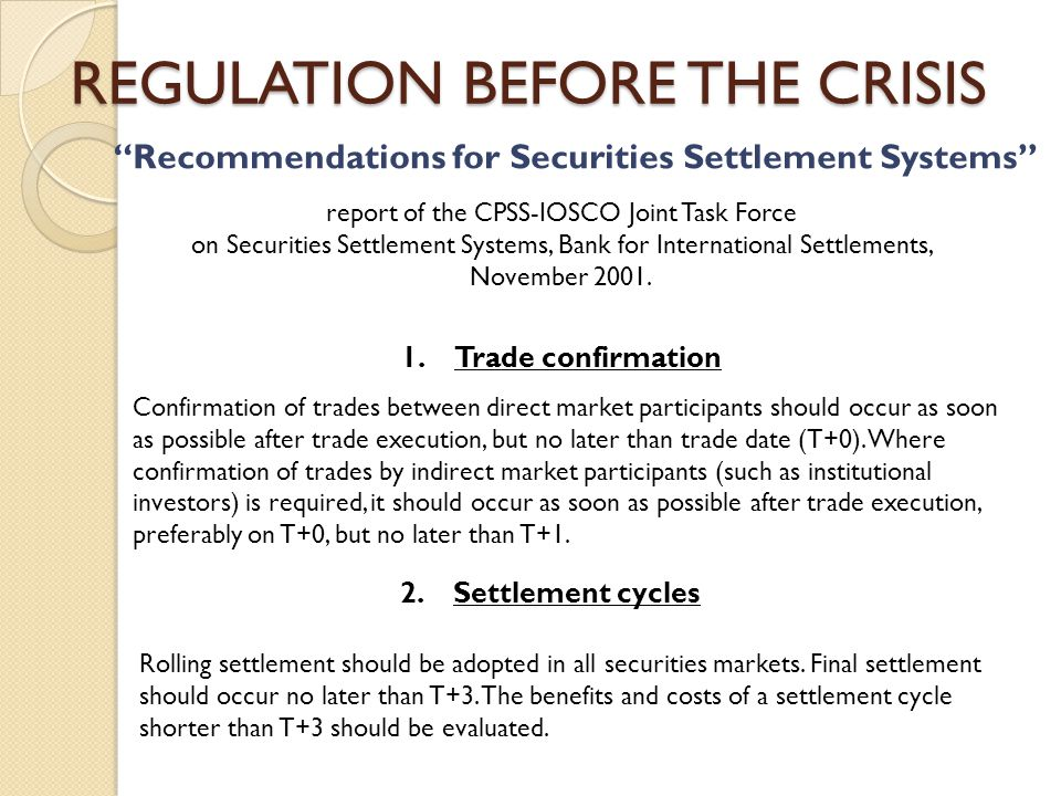 Recommendations for Securities Settlement Systems