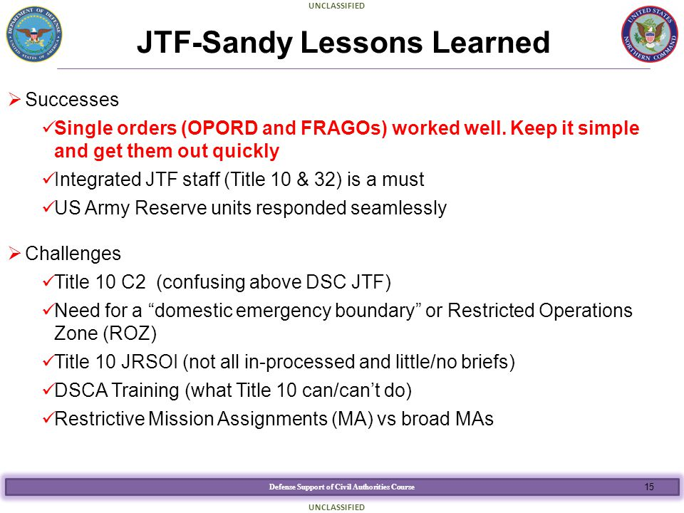 JTF-Sandy Lessons Learned