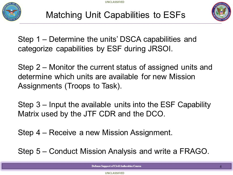 Matching Unit Capabilities to ESFs