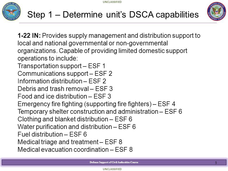 Step 1 – Determine unit's DSCA capabilities