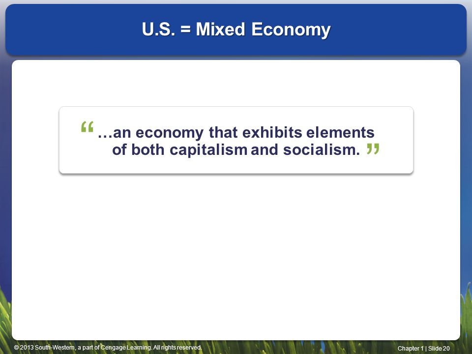 …an economy that exhibits elements of both capitalism and socialism.
