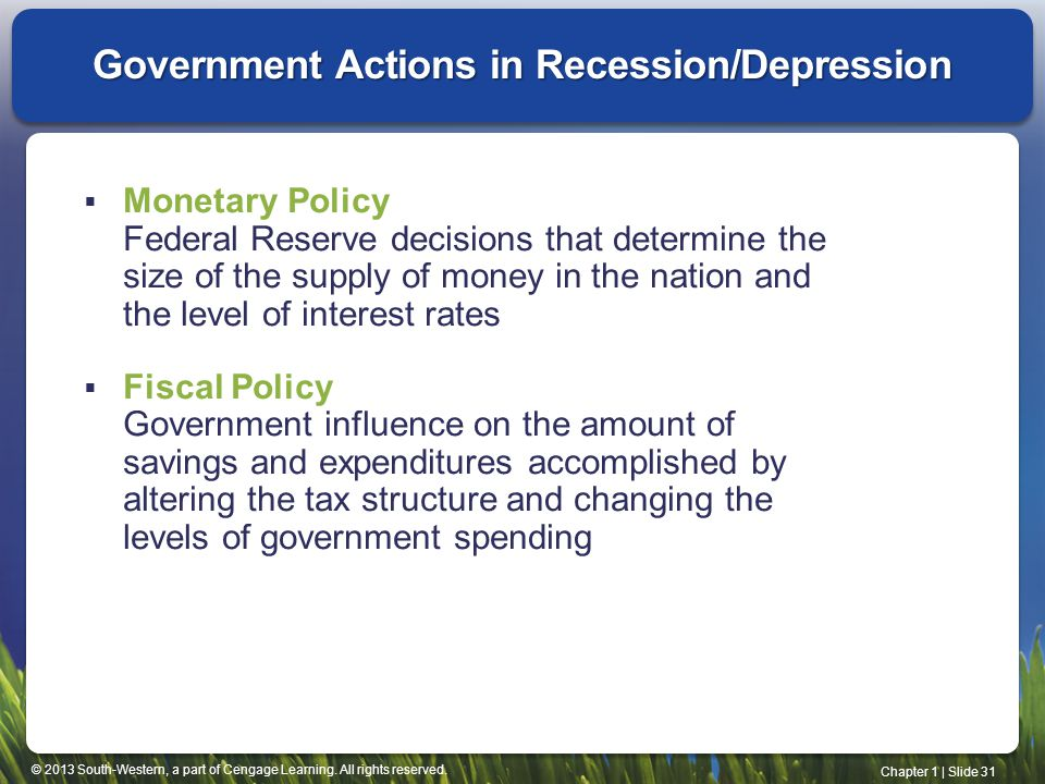 Government Actions in Recession/Depression