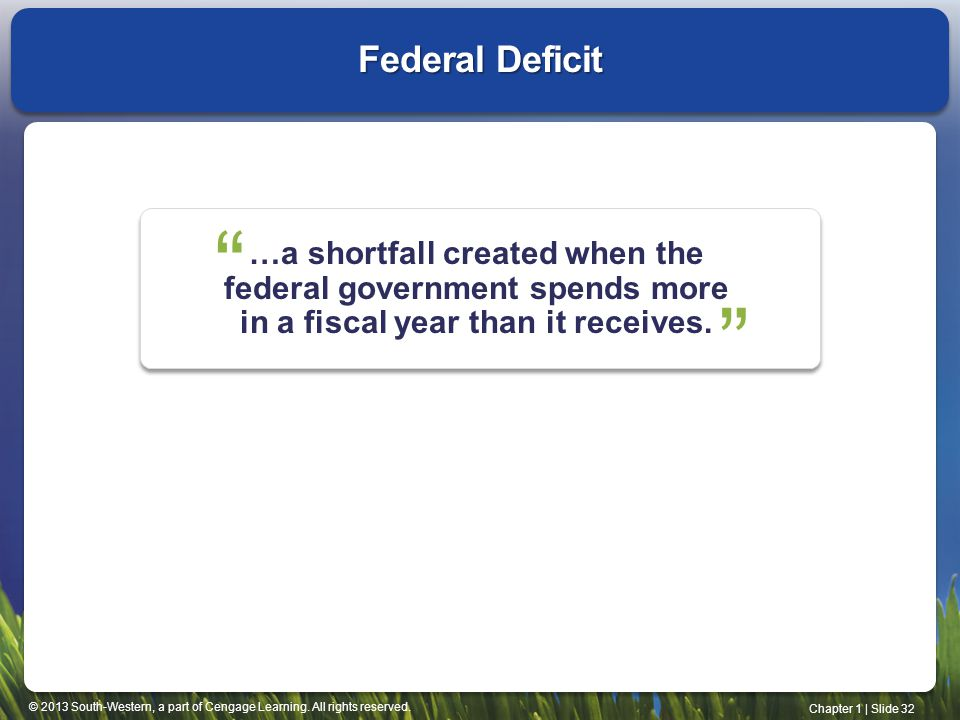 Federal Deficit …a shortfall created when the federal government spends more in a fiscal year than it receives.