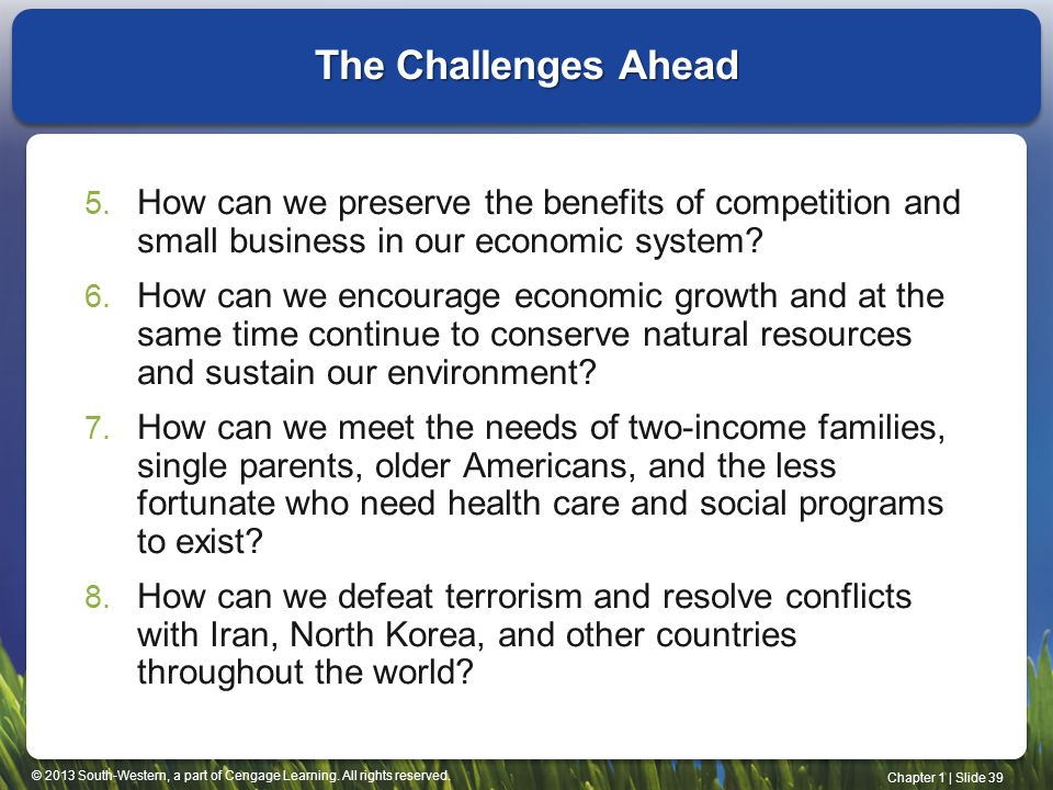 The Challenges Ahead How can we preserve the benefits of competition and small business in our economic system