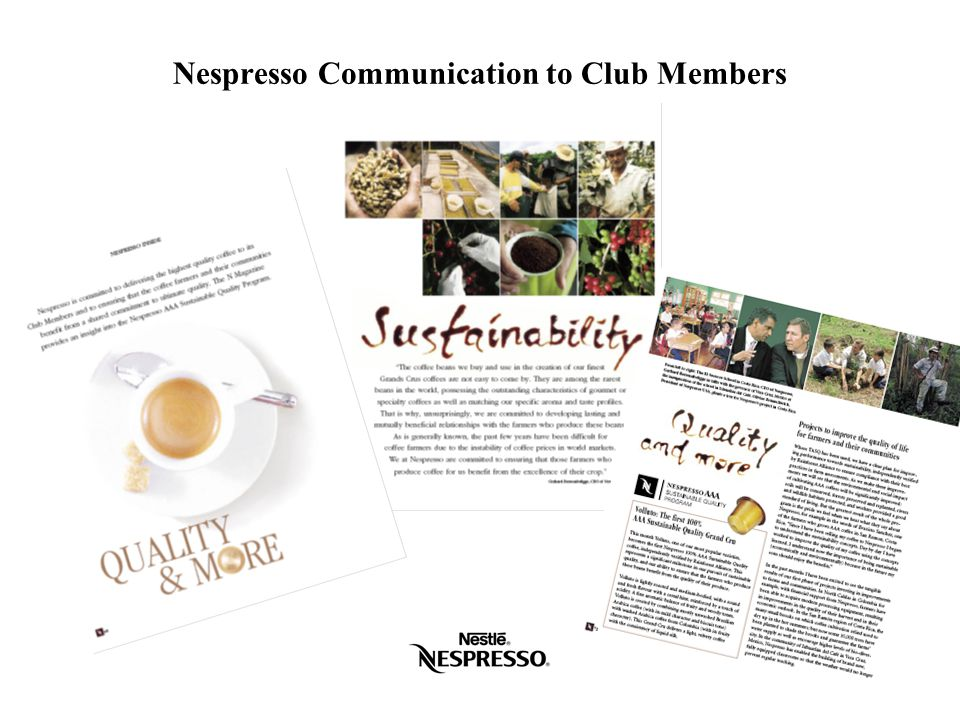Nespresso Communication to Club Members