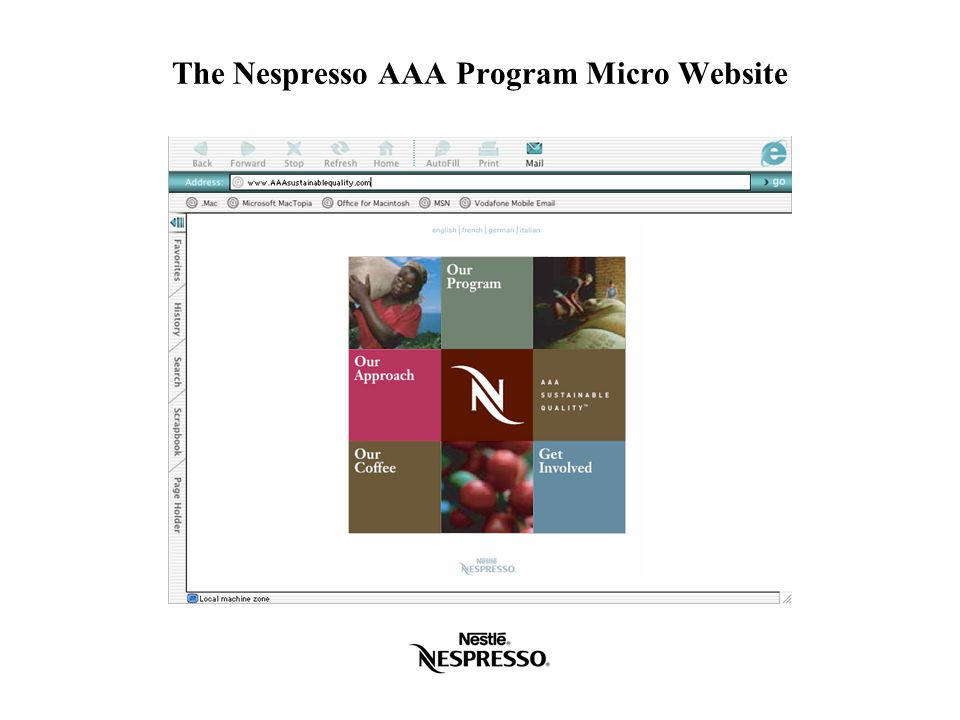 The Nespresso AAA Program Micro Website