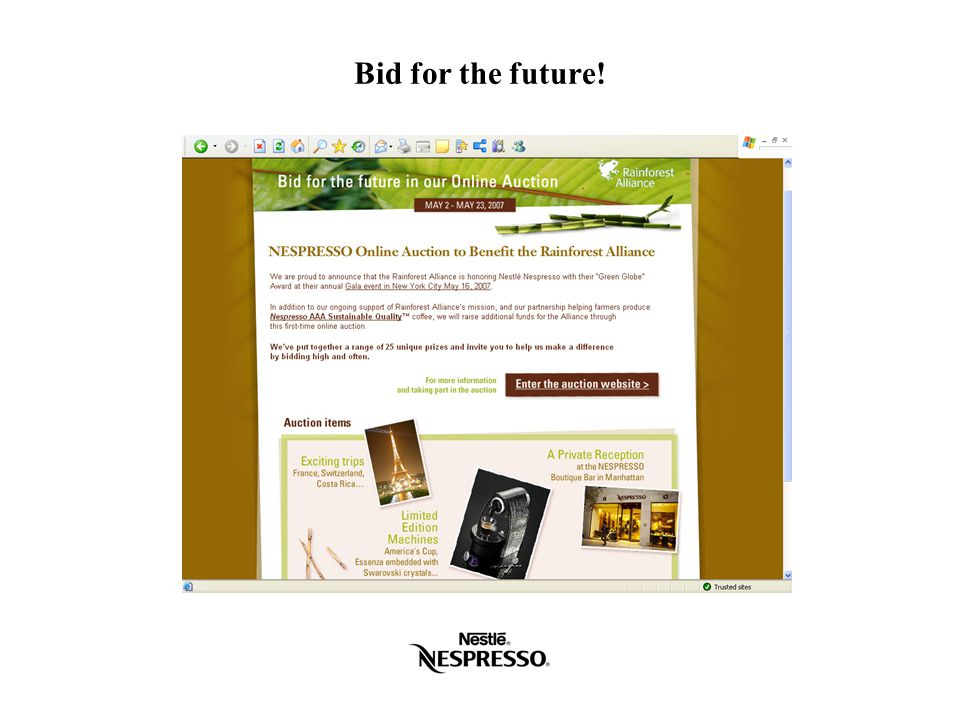 Bid for the future!