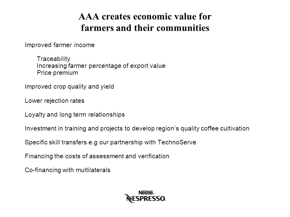 AAA creates economic value for farmers and their communities