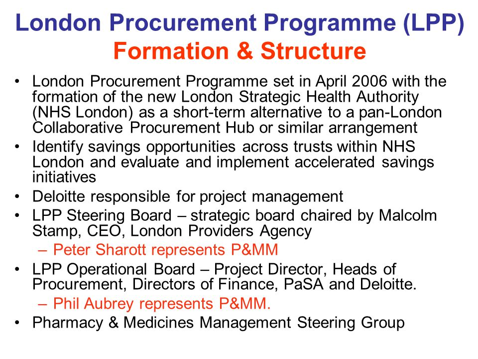 London Procurement Programme (LPP) Formation & Structure