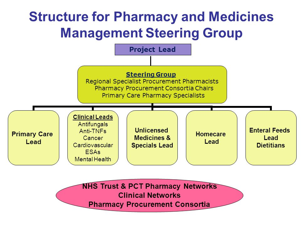 Structure for Pharmacy and Medicines Management Steering Group