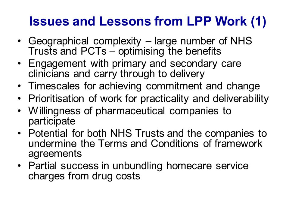 Issues and Lessons from LPP Work (1)