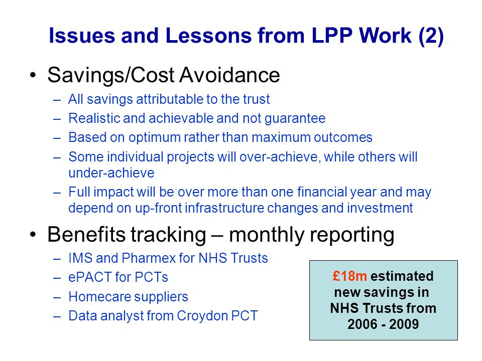 Issues and Lessons from LPP Work (2)
