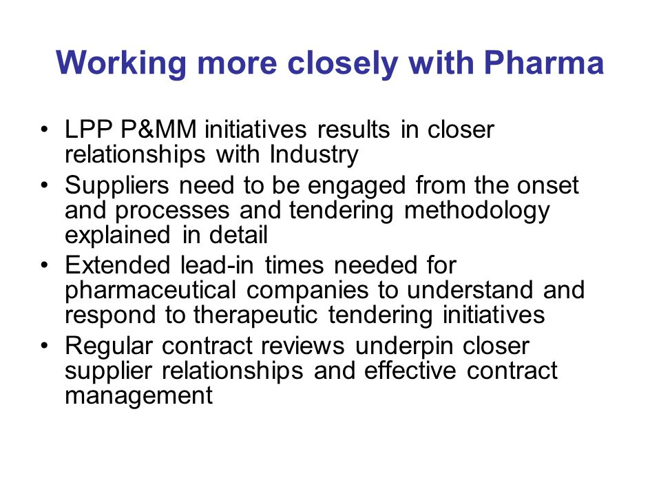 Working more closely with Pharma