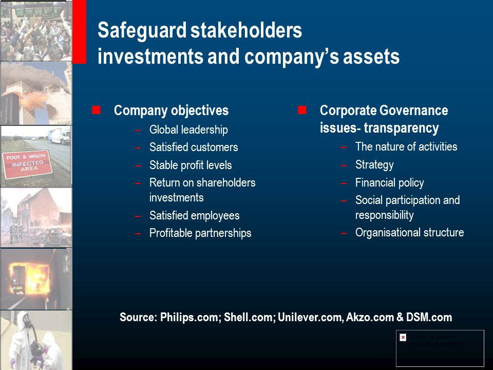 Safeguard stakeholders investments and company's assets