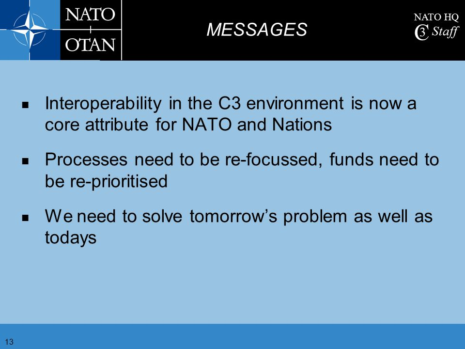 MESSAGES Interoperability in the C3 environment is now a core attribute for NATO and Nations.