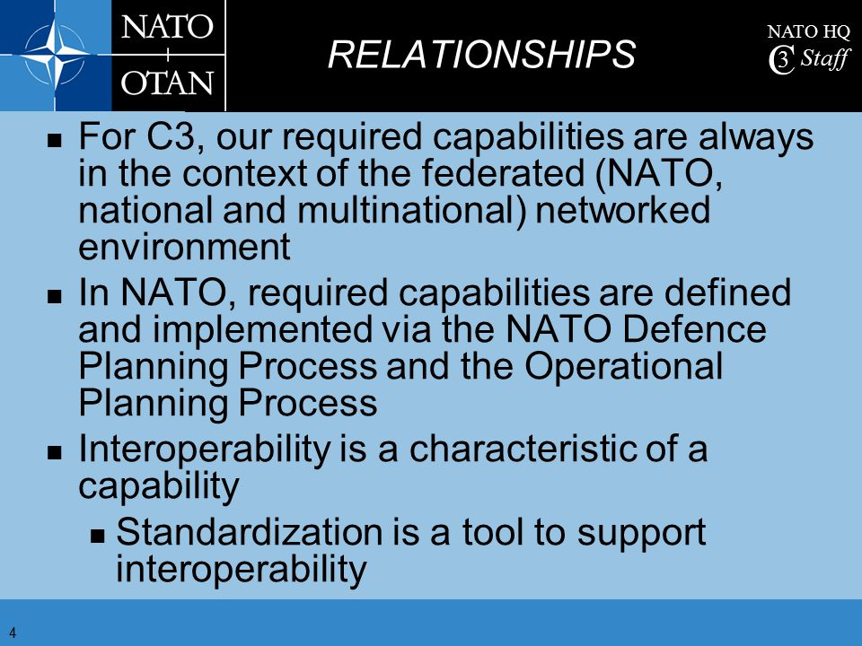RELATIONSHIPS For C3, our required capabilities are always in the context of the federated (NATO, national and multinational) networked environment.